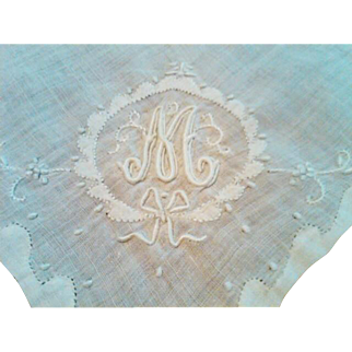 "Gorgeous Irish Linen Ladies Monogrammed ""M"" Handkerchief (Hanky)"