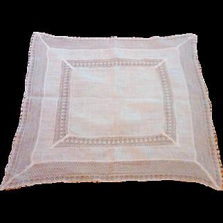 Exquisite Fine Irish Linen and Bobbin Lace Bride's Handkerchief (Hanky)