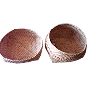 Old Shaker Thin Splint Primitive Thread Baskets - Set of Two