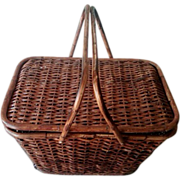 Antique Primitive Picnic Basket with Bentwood Handles
