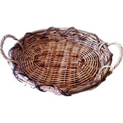 Vintage Cane Woven Willow Harvest Basket