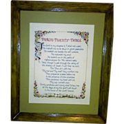 Vintage Psalm Twenty Three - The Lord Is My Shepherd - Needlepoint Sampler
