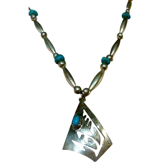 Native American Navajo Sterling and Turquoise Pendant Necklace