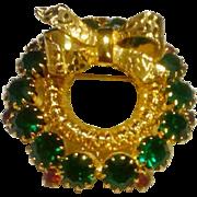 Vintage Filigree Emerald Green and Ruby Red Rhinestone Wreath Brooch