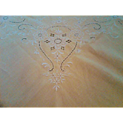 Madiera Embroidery and Cutwork Linen Tablecloth and Napkin Set