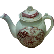 """Staffordshire England """"Little Mae and Newfy"""" Red Transferware Child's Teapot"""