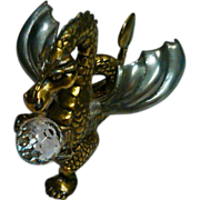 Jeweled Brass Dragon Figurine with Cast Metal Wings