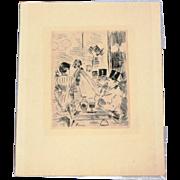 Jean Louis Forain etching, Le Cafe de la nouvelle Athenes, c. 1877, very good condition