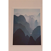 "1980s China, Guilin, ""Huangshan Mountains"", original framed photo signed by Kubota"