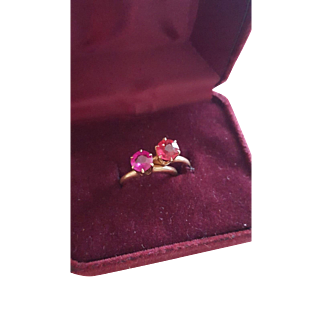 Matching Pair of Antique 14k Ruby Rings, Edwardian