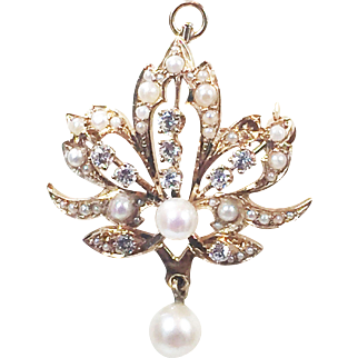 14 karat Yellow Gold Diamond Brooch/Pendant