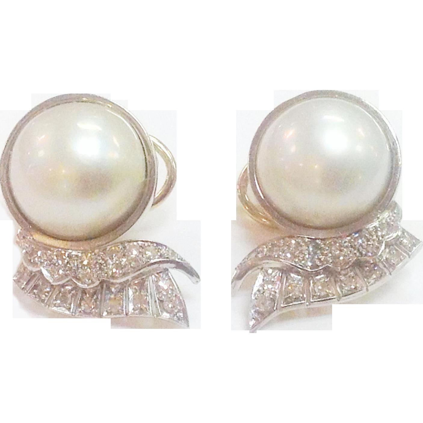 14 karat estate mabe pearl earrings from goddessandco