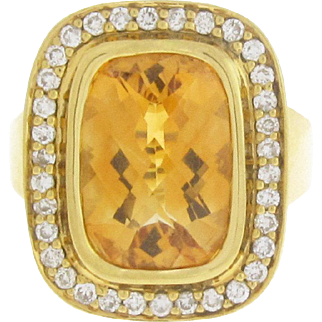 18 karat Diamond & Citrine Ring
