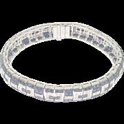 Black and White Geometric Design Solid White 18K Gold Link Bracelet