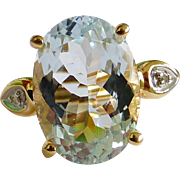 Large 14k Gold 8 carat Aquamarine and diamond ring