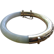 Old Chinese Repousse sterling silver vermeil and Jade hinged bangle bracelet