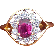 Quality Vintage 14k gold Natural Ruby and Diamond Halo cocktail ring