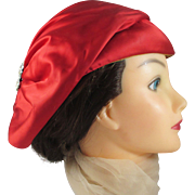 BONWIT TELLER Red Satin Rhinestone Hat