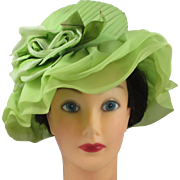 Vintage Lime chiffon pleated ladies hat