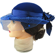 Vintage SAKS Fifth Avenue Cobalt Blue Hat with netting