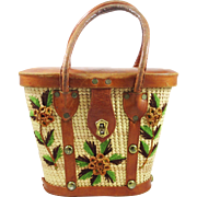 Straw Leather purse with floral accents