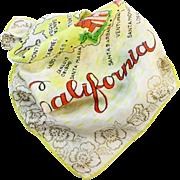 Vintage California silk souvenir scarf