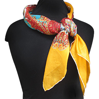 "Pure silk 1950s Persian patterned scarf. ""Scheherazade"