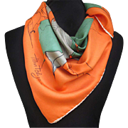 1950s Abstract Leaf Scarf in Orange