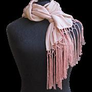 Vintage Pink Silk Chiffon Scarf - Shawl with fringe