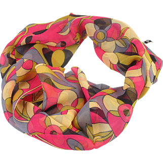"Pure Silk 1960s ""Smoke Ring"" Infinity scarf"