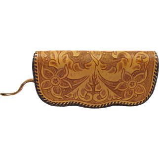 Vintage Tooled Leather Clutch Bag