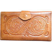 Rare JUSTIN Flower Crafted tooled leather wallet checkbook holder - Red Tag Sale Item