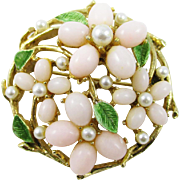 Signed ART Mode ART faux pearl floral pin