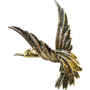 Signed ART MODE ART articulated wing figural bird pin
