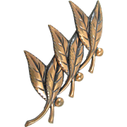 Vintage BELL Copper leaf trio pin