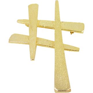 CELEBRITY Asian Hashtag symbol gold-tone pin