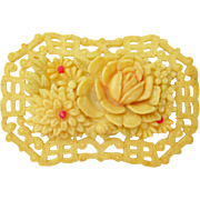 1940s Celluloid  Floral Pin Occupied Japan