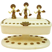 Fan Dancers dresser vanity jewelry box in early plastic