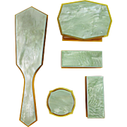 Green Celluloid Vanity Dresser Set