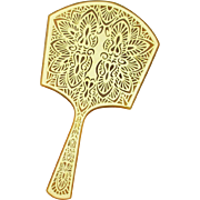 Large Carved Celluloid Vanity Hand Mirror