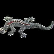 EMMONS silver-tone rhinestone lizard pin