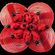 1960s ASIAN Fan pin in featherweight plastic