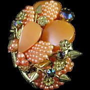 Layered Thermoset Rhinestone Flower Pin