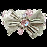 Beaded Artisan Bracelet Vintage Bow Pin