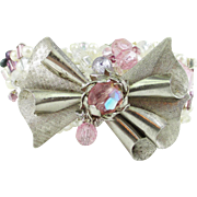 Beaded Artisan Bracelet Vintage Bow Pin
