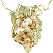 Artisan Necklace Vintage Leaf Peach Beads