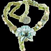 Artisan silk velvet necklace vintage flower pin