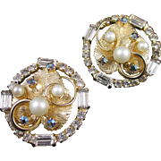Stellar HOBE Mixed rhinestone and faux pearl earrings