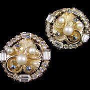 Stellar HOBE Mixed rhinestone and faux pearl earrings