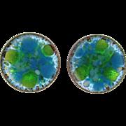 HOGAN BOLAS Blue Green copper/enamel earrings